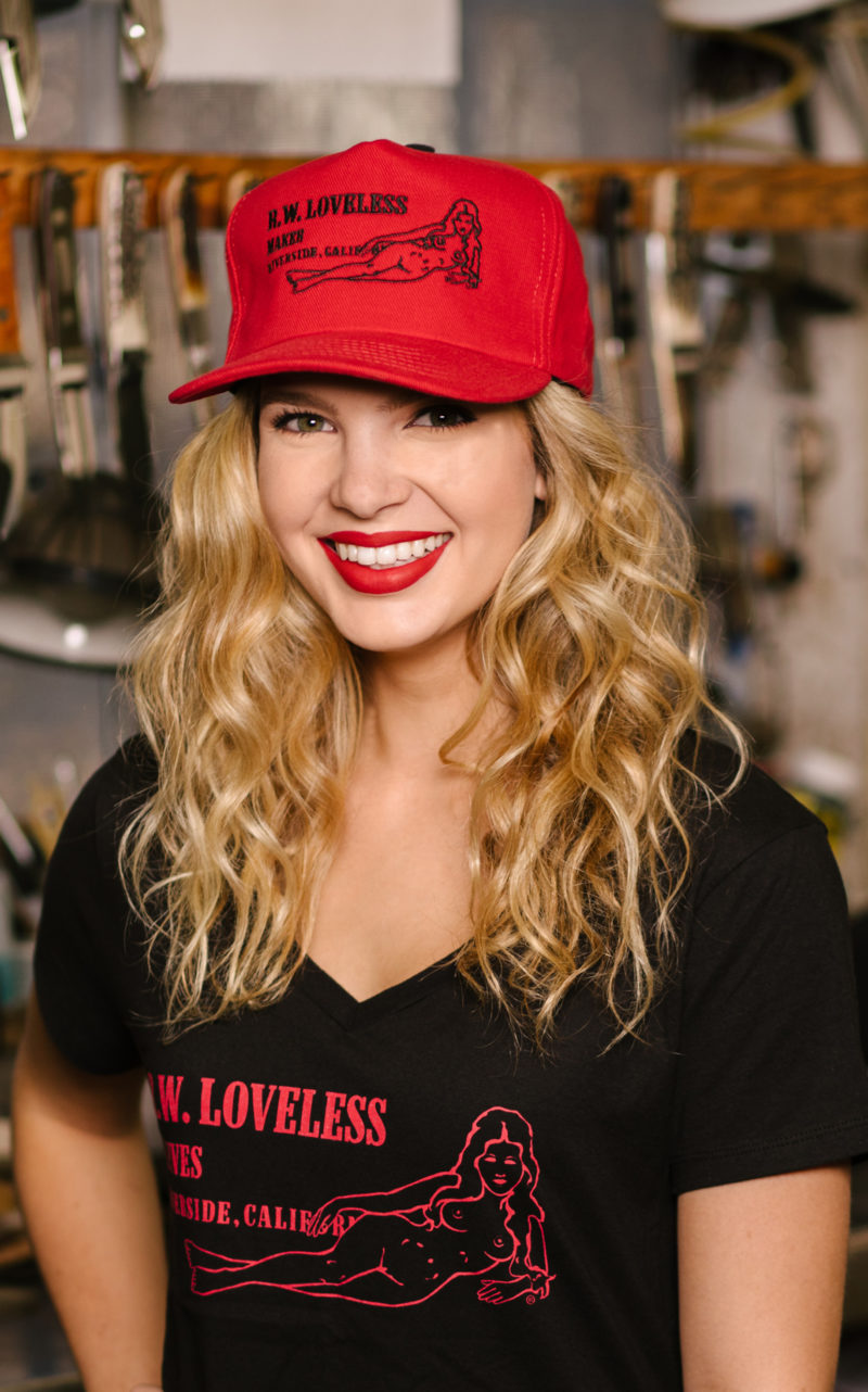 Official Loveless Knives®  Reclining Nude Logo  Trucker Style Cap in Red